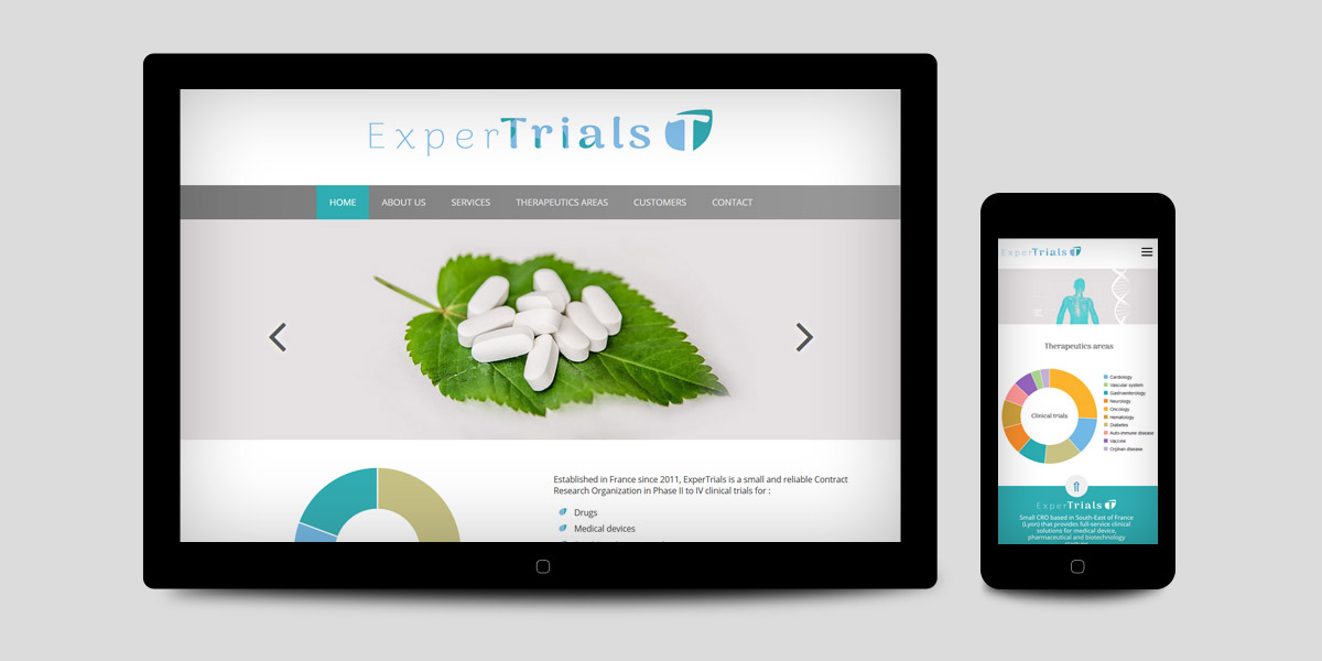 Webdesign of Expertrials CRA freelance website, Clinical research consultant in France
